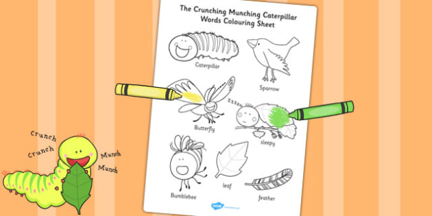 Words Colouring Sheet to Support Teaching on The Crunching Munching Caterpillar - colour