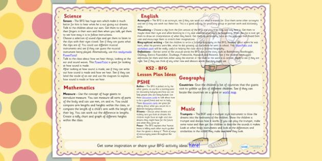 Lesson Plan Ideas KS2 to Support Teaching on The BFG - BFG, lesson plan, KS2, lessons