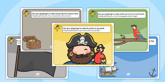 Pirate Playdough Mat Romanian Translation - romanian, pirate