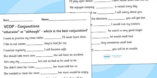 'Otherwise' or 'Although' Conjunctions Activity Sheet - worksheets, worksheet, work sheet, otherwise, although, otherwise or although, connectives worksheet, connectives, sheets, activity, writing frame, filling in, writing activity, KS2