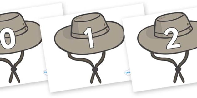 Numbers 0-100 on Cowboy Hats - 0-100, foundation stage numeracy, Number recognition, Number flashcards, counting, number frieze, Display numbers, number posters