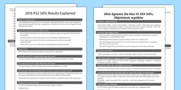 2016 KS2 Sats Results Explained Adult Guidance Polish Translation - polish, KS2 SATS, SATS results, 2016 SATS, SATS letter to parents, parents, guidance