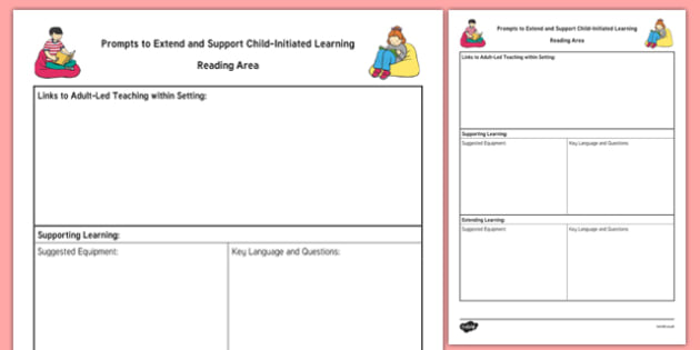 Reading Area Adult Support Prompt Sheet Template - books, read, foundation, planning, plan, early years, continuous provision