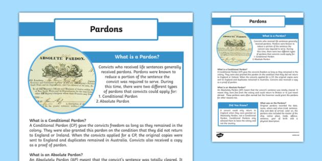 The First Fleet Pardons Information Sheet - australia, The First Fleet, Pardons, Absolutely Pardon, Conditional Pardons, convicts, apply, information, information sheet