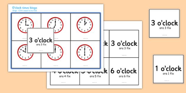 O' Clock Times Bingo Romanian Translation - EAL, translated, bilingual,  time, analogue, clock, hourly, hour