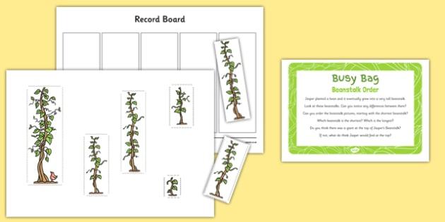 Beanstalk Order to Support Teaching on Jasper's Beanstalk - height, length, order, mathematics, EYFS