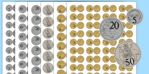 Realistic Size Australian Coins - australia, realistic, size, australian coins, coins, money