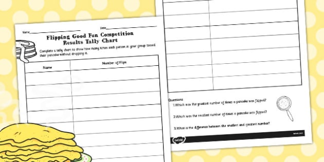 Flipping Good Fun Competition Tally Chart - tally chart, flipping