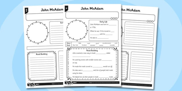 Blank John McAdam Fact File Sheet Differentiated - fact file, blank