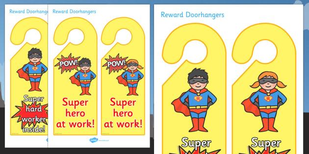 Superhero Reward Door Hangers - superhero reward door hangers, superhero, reward, door hangers, door, hangers, rewards, award, superheroes, sign, label