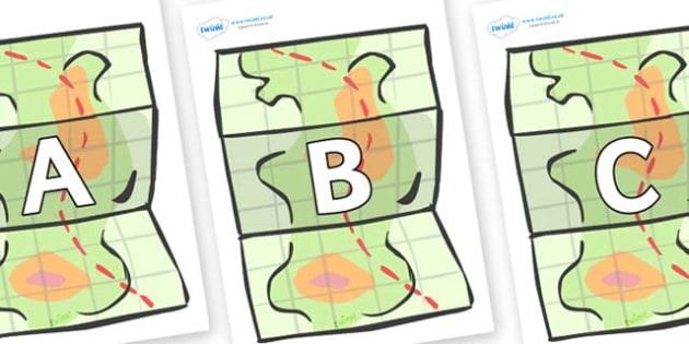 A-Z Alphabet on Maps - A-Z, A4, display, Alphabet frieze, Display letters, Letter posters, A-Z letters, Alphabet flashcards