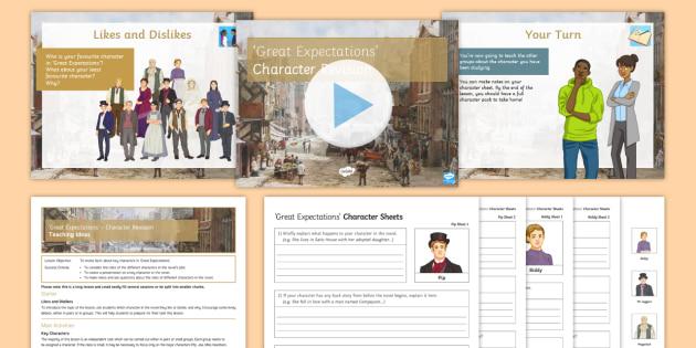 Great Expectations  - Character Revision Lesson Pack - Great Expectations, Pip, Joe, Mrs Joe, Biddy, Orlick, Miss Havisham, Estella, Mr Jaggers, Molly, Her