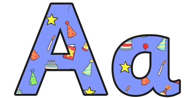 Birthday Themed Display Lettering 2 - birthday, lettering, letter