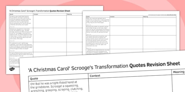 A Christmas Carol Quotes Revision Sheet Scrooge's Transformation - a christmas carol, quotes, revision