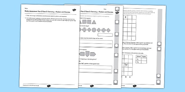 Year 2 Maths Assessment Geometry Position and Direction Term 2 - Maths, Assessment, Geometry, Position, Direction