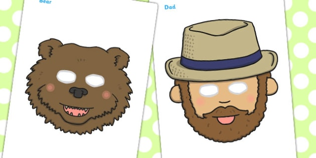 Bear Hunt Role Play Masks - bear hunt, role-play, masks, roleplay