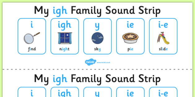 My IGH Sound Family Strip - Sound family, IGH, alternate spellings, alternate spellings for phonemes, family, sounds, phoneme, phonemes