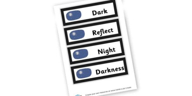 Dark Display Words - Light & Dark Primary Resources, light and dark, topic, day, night
