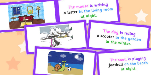 Description Cards Unusual Sentence Who What Doing What Where When