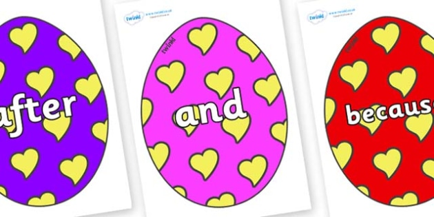 Connectives on Easter Eggs (Hearts) - Connectives, VCOP, connective resources, connectives display words, connective displays