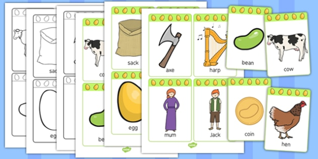 Jack and the Beanstalk Picture Cards - picture, cards, jack