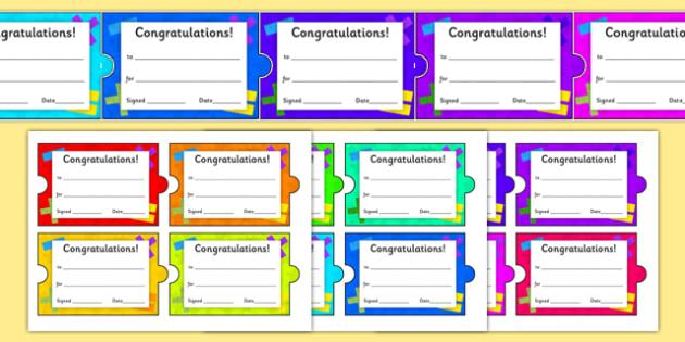 Maths Themed Jigsaw Certificates - maths, themed, jigsaw, puzzle, certificates