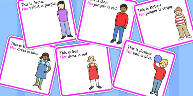 Possessive Pronouns His And Hers Cut Out Cards - pronoun, SEN