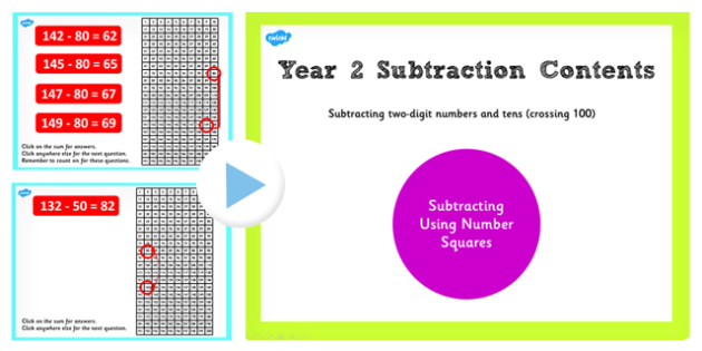 Y2 Subtracting 2 Digit Numbers Cross 100 Number Square PowerPoint