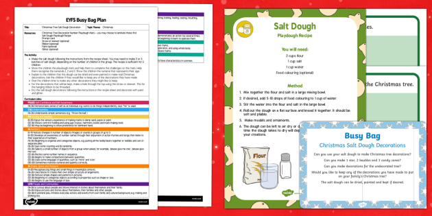 EYFS Christmas Salt Dough Decorations Busy Bag Plan and Resource Pack