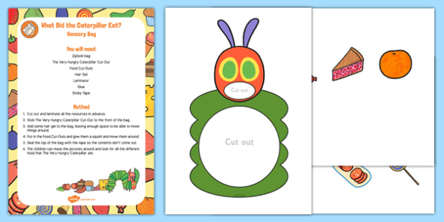 What Did the Caterpillar Eat? Sensory Bag to Support Teaching on The Very Hungry Caterpillar - EYFS planning, Early years activities, early years, homework activities, phonics, Letters and Sounds, Phase 1, Aspects 1 to 7