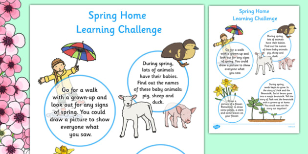 EYFS Spring Home Learning Challenge Sheet Nursery FS1 - EYFS planning, early years activities, homework, seasons