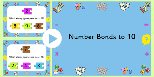 Number Bonds To Ten Jigsaw PowerPoint - number bonds, number bonds to ten, jigsaw, jigsaw powerpoint, powerpoint, matching, number bonds powerpoint
