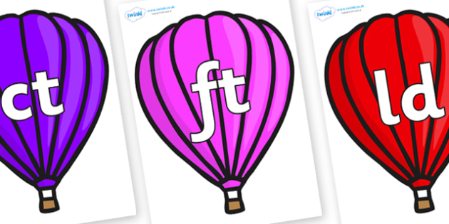 Final Letter Blends on Hot Air Balloons (Plain) - Final Letters, final letter, letter blend, letter blends, consonant, consonants, digraph, trigraph, literacy, alphabet, letters, foundation stage literacy