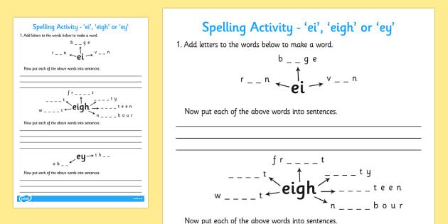 -ei -eigh or -ey Spelling Activity - spell activity, ei, eigh, ey