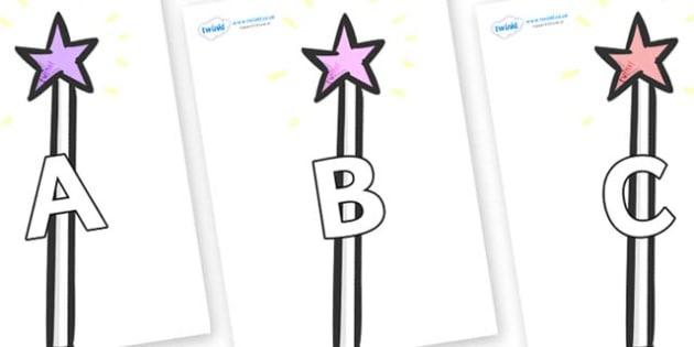 A-Z Alphabet on Wands - A-Z, A4, display, Alphabet frieze, Display letters, Letter posters, A-Z letters, Alphabet flashcards