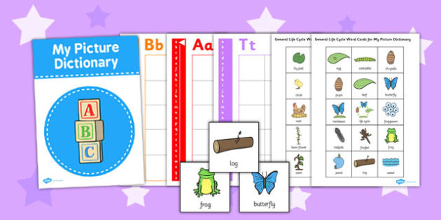 General Lifecycle Picture Dictionary Word Cards - dictionary