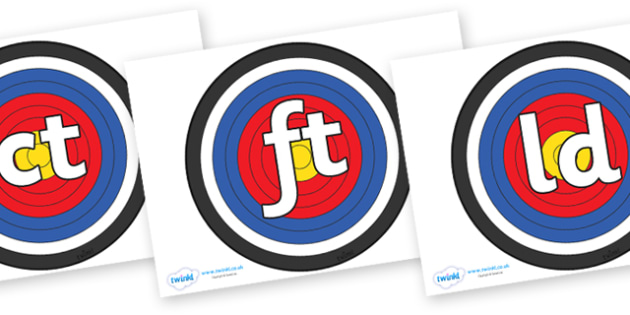 Final Letter Blends on Archery Targets - Final Letters, final letter, letter blend, letter blends, consonant, consonants, digraph, trigraph, literacy, alphabet, letters, foundation stage literacy