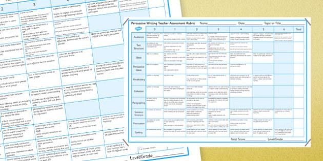 Persuasive Writing Teacher Assessment Rubric - australia, Persuasive, Rubric, Marking, Assessment, NAPLAN, Australian