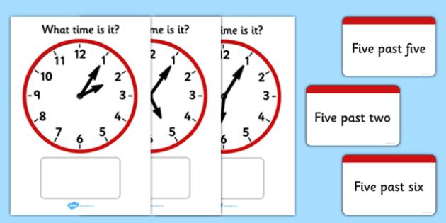 Analogue Clocks Matching Cards Five Past - analogue clocks, matching cards, five past, analogue, clock, matching, cards, match