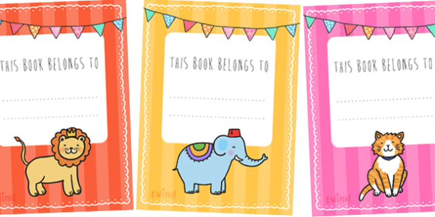 Animal Themed This Book Belongs to Labels - this book belongs to, book labels, book name labels, animal themed name labels, animal book name labels, book