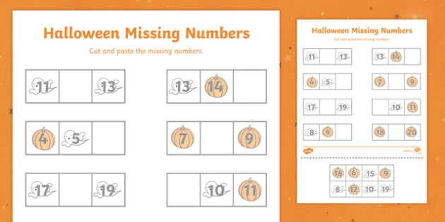 Halloween Missing Number 11 to 20 Activity Sheet