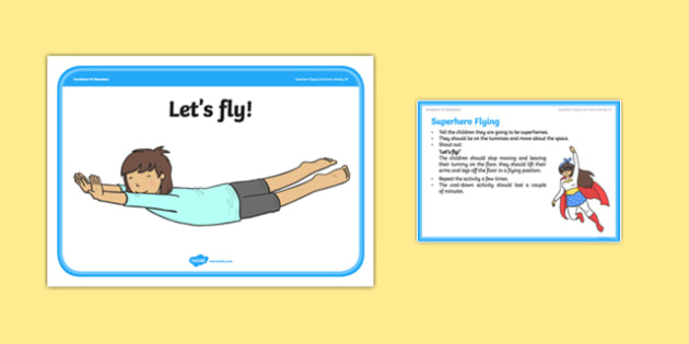 Foundation PE (Reception) Superhero Flying Cool-Down Activity Card - physical activity, foundation stage, physical development, games, dance, gymnastics