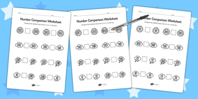 Weather Themed Number Comparison Worksheet - seasons, numeracy