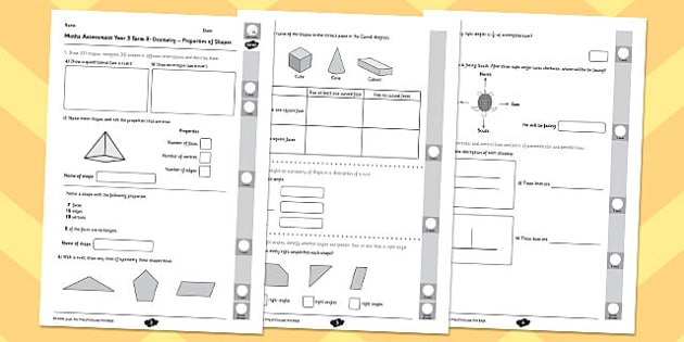 Year 3 Maths Assessment: Geometry - Properties of Shapes Term 3 - year 3, maths, assessment, geometry