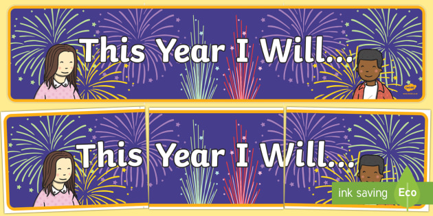 This Year I will... Display Banner, new year resolutions, new years, new year display