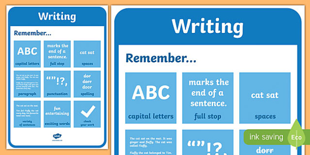 Writing Prompt Poster - writing poster, writing prompts, writing reminders, capital letters, punctuation, writing reminders poster, remember to