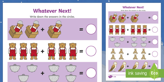 Addition Sheet to Support Teaching on Whatever Next! - whatever next, addition, sheet whatever next worksheet, whatever next addition, addition worksheet, numeracy, maths, numbers