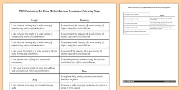1999 Curriculum 3rd Class Maths Measures Assessment Targets Colouring Sheet - roi, gaeilge, maths, curriculum, 1999
