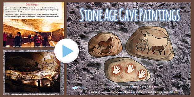 Stone Age Cave Paintings Photo PowerPoint - stone age, painting