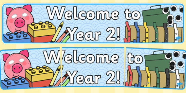 Year 2 Welcome Banner - Year Two, welcome classroom sign, welcome, welcome sign, door sign, class sign, KS1 sign, class door sign